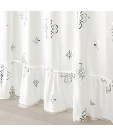 【送料無料!】箔プリント。夕方まで見えにくいフリル付ボイルレースカーテン レースカーテン・ボイルカーテンの商品画像