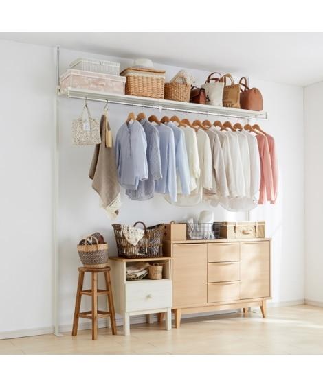 【日本製】上棚付き突っ張り伸縮ハンガー ハンガーラック・ワードローブ, Clothes racks(ニッセン、nissen)