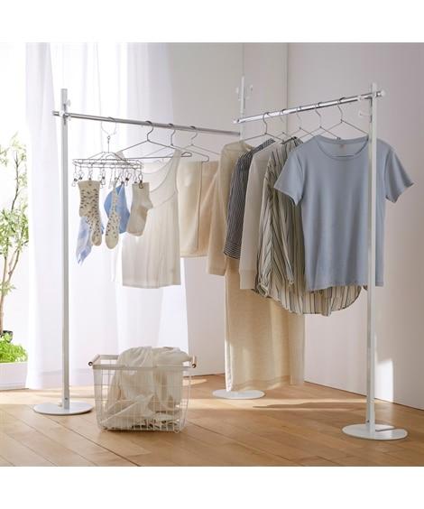 【日本製】コンパクトに収納できる2WAY物干しハンガーラック ハンガーラック・ワードローブ, Clothes racks(ニッセン、nissen)