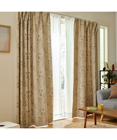 【送料無料!】シックな色合いのリーフ柄1級遮光カーテン&遮熱。昼間見えにくい。UVカットレースセット カーテン&レースセット, Curtains, sheer curtains, net curtains(ニッセン、nissen)