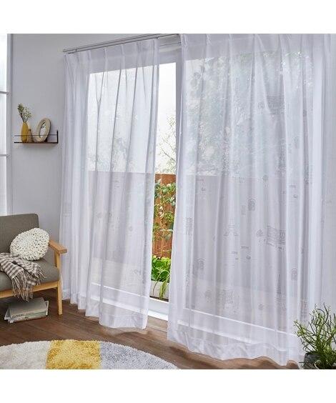 【Plune.】一目見て可愛いと感じる!パリの街モチーフ柄ミラーレースカーテン レースカーテン・ボイルカーテン, Curtains, sheer curtains, net curtains(ニッセン、nissen)