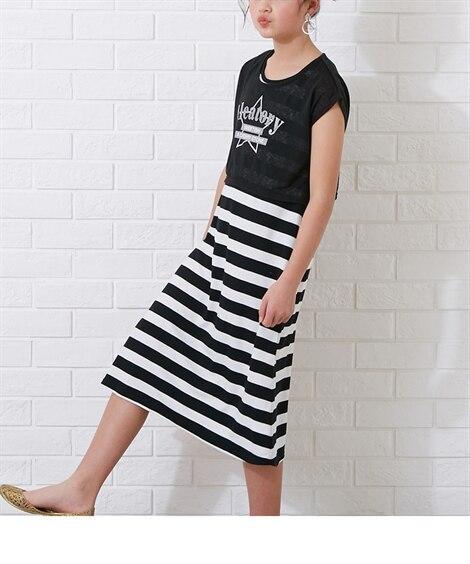 2点セット(Tシャツ+ワンピース)(女の子 子供服。ジュニア...