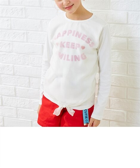 前身シフォン重ねTシャツ(女の子 子供服。ジュニア服) Tシ...