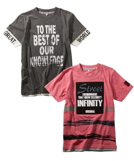 綿混デザイン半袖Tシャツ2枚組(男の子 子供服。ジュニア服)...