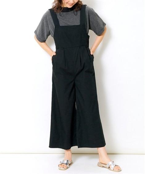 【大きいサイズ】 バックリボンサロペットガウチョ(ゆったりヒ...
