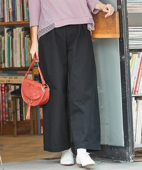 大きいサイズ 綿100%チノワイドパンツ(ゆったりヒップ) ,スマイルランド, パンツ, plus size pants