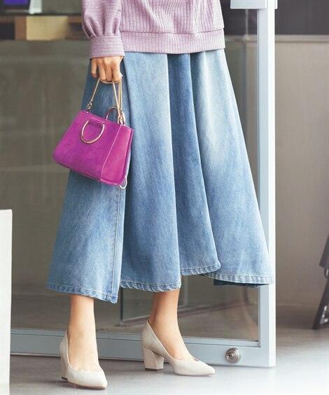 軽量ロング丈デニムスカート(オトナスマイル) (大きいサイズ...