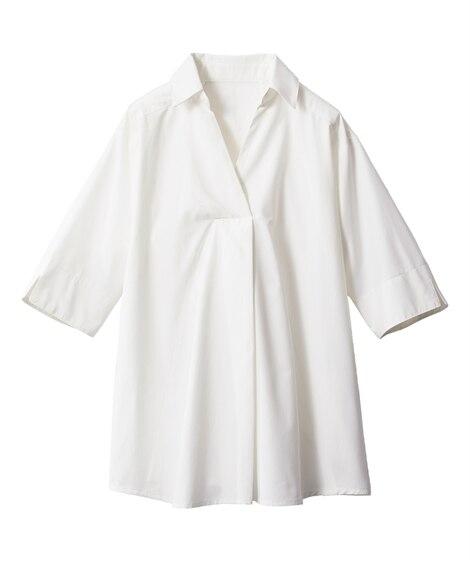 綿混5分袖すっきりキレイ見えを叶えるスキッパーシャツチュニッ...