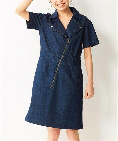 【大きいサイズ】 綿100%ライダース風デニムワンピース ワ...