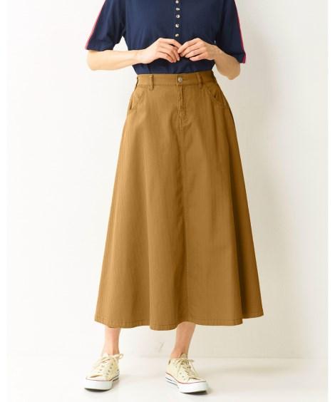 【大きいサイズ】 綿100%フレアロングスカート スカート,...