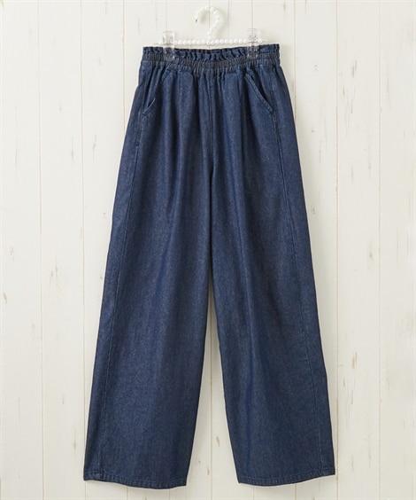 綿100%ライトオンスデニムタック入りワイドパンツ(女の子 子供服・ジュニア服) パンツ, Kids' Pants