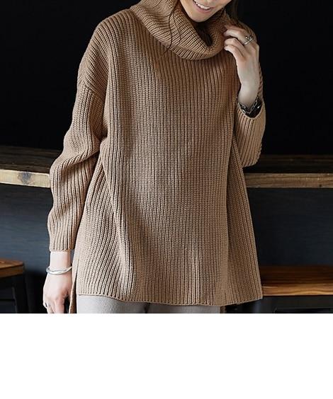 後ボタン開ビッグシルエットニット (ニット・セーター)(レディース)Knitting, Sweater,