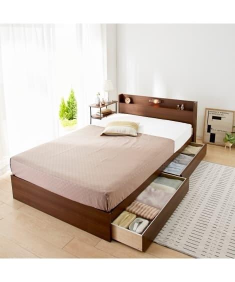 宮。照明。引き出し付ベッド 収納付きベッド(ニッセン家具)