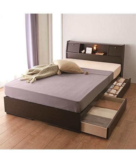 照明。棚。テーブル。引き出し付多機能ベッド 収納付きベッド...
