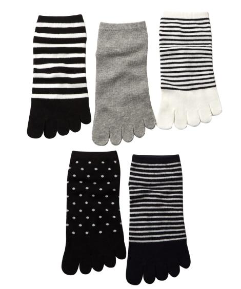色柄おまかせ モノトーン5本指ショートソックス5足組(フリーサイズ) ショート・クルーソックス, Socks