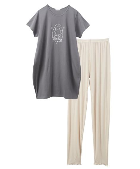 【WEB限定】ネコ柄コクーンゆったりロングトップス+リブメロウレギンスルームウェア上下セット (パジャマ・ルームウェア)Pajamas