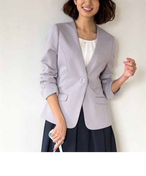 通勤対応ポンチノーカラージャケット (ジャケット・ブルゾン)...