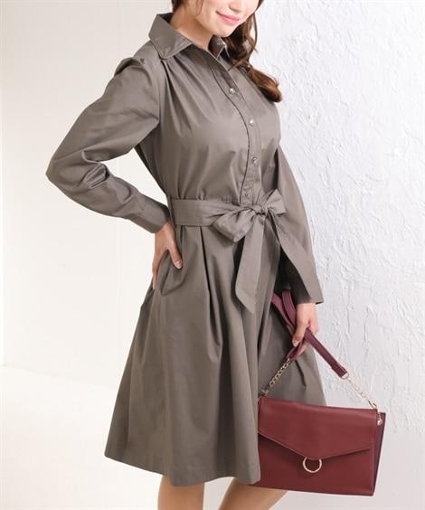 【大きい胸専用】ウエストリボンシャツワンピース (ワンピース...