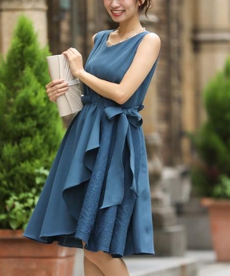 レース使い裾アシンメトリーワンピースドレス 【結婚式・二次会...