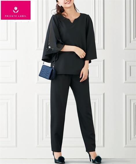 2点セット(7分袖デザイントップス+テーパードパンツ)(プライベートレーベル) (フォーマル)dress, plus size dress