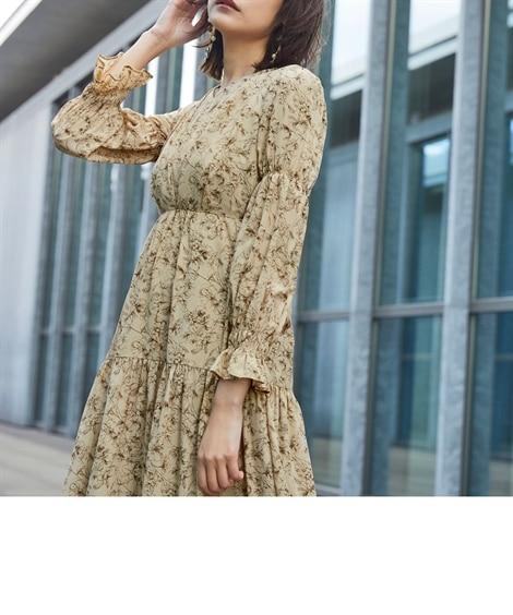 【結婚式・パーティードレス】<Callarus>Flower Printed Front Tuck Design Onepiece Dress 【謝恩会・パーティドレス】Dress