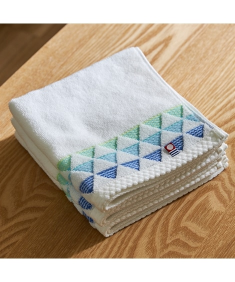 今治 波のようなデザインが美しいハンドタオル(34×36) 同色3枚セット ハンドタオル・タオルハンカチ, Towels(ニッセン、nissen)