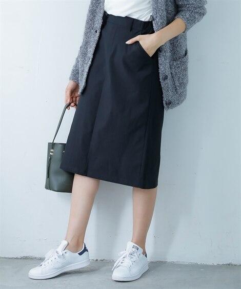 裏起毛であったかストレッチタイトスカート (ひざ丈スカート)...