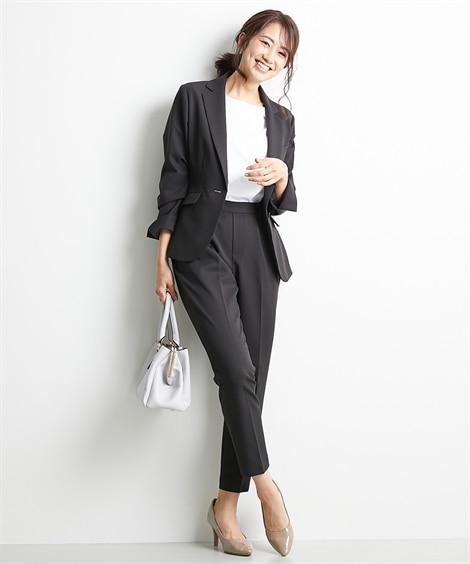 【レディーススーツ】「ワークバディ」パンツスーツ(テーラードジャケット+テーパードパンツ)(多機能ストレッチ素材) ,スマイルランド, レディーススーツ, women's suits,  plus size women's