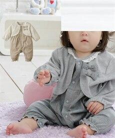 <ニッセン>カーデ重ね着風 グレンチェック長袖カバーオール(女の子 子供服。ベビー服) 【ベビー服】画像