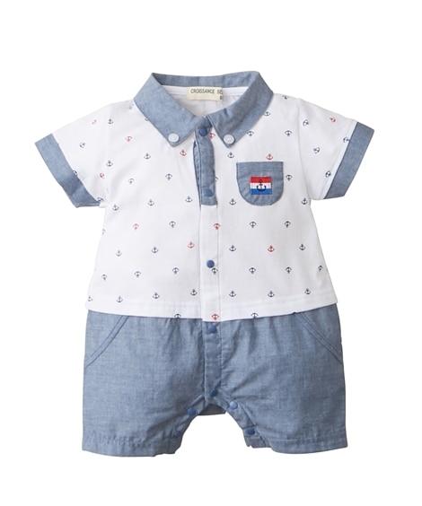 襟付き半袖カバーオール(男の子 子供服。ベビー服) 【ベビー...