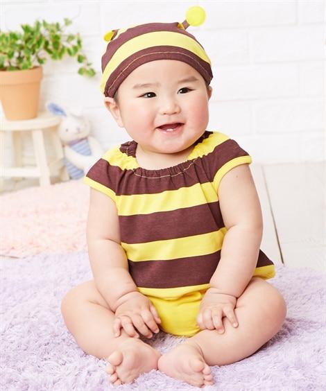 帽子付き変身ロンパース2点セット(男の子。女の子 子供服。ベ...