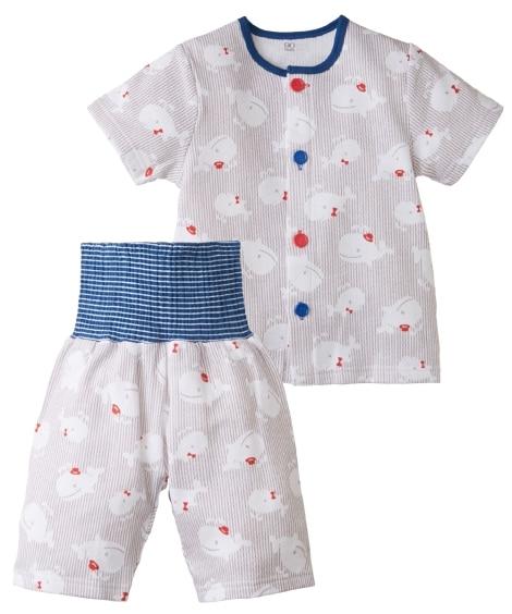 メッシュ前開き腹巻付き半袖パジャマ(男の子 女の子 ベビー服...