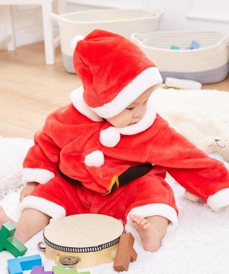 【クリスマス】マイクロファイバー サンタ長袖カバーオール。ツ...
