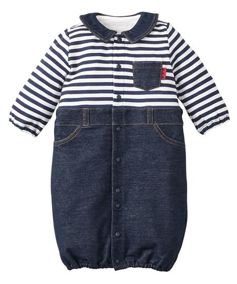 コットン 衿付き長袖ツーウェイオール(男の子。女の子 子供服。ベビー服) 【ベビー服】Babywear