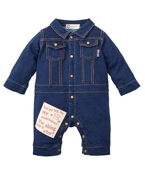 デニムニット 長袖カバーオール(男の子 子供服。ベビー服) 【ベビー服】Babywear
