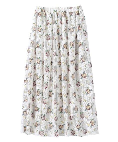 花柄プリントレーススカート (大きいサイズレディース)...