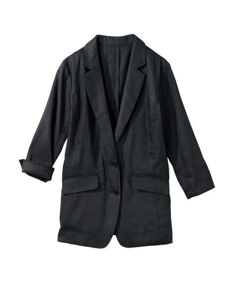 よく伸びる麻混7分袖ジャケット (大きいサイズレディース)ジ...