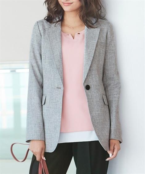 ロング丈テーラードジャケット (大きいサイズレディース)ジャ...