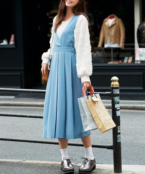 タックプリーツジャンパースカート (大きいサイズレディース)...