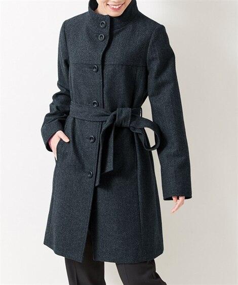 ウール混ヘリンボンスタンドカラーコート(共布ベルト付) (大...