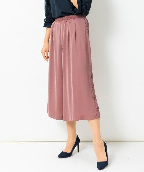 【大きいサイズ】 裾ボタンデザインガウチョパンツ パンツ, ...