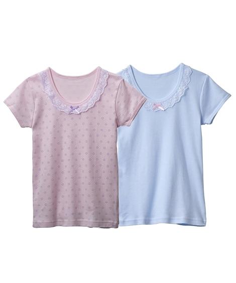 綿100% 3分袖インナー2枚組(女の子 子供服。ジュニア服...