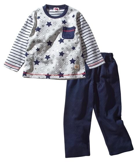 ニットキルト長袖パジャマ(男の子 子供服) キッズパジャマ,...