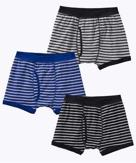 ボーダー柄前開きボクサーパンツ3枚組(男の子 子供服・ジュニア服) キッズ下着, Kid's Underwear