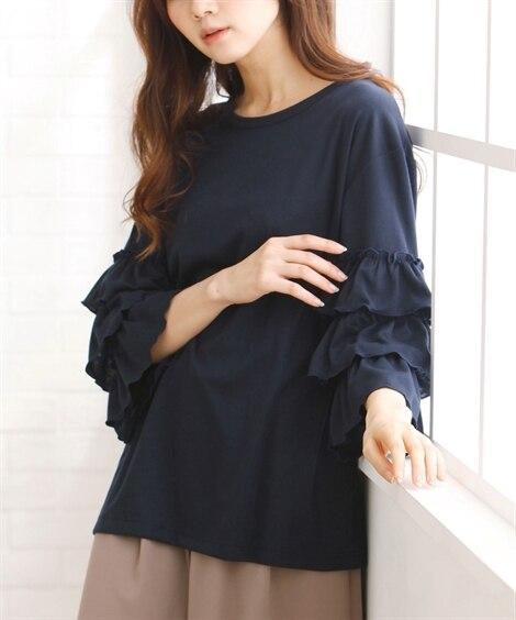 <ニッセン> 袖コンシャスプルオーバー (大きいサイズレディース)Tシャツ・カットソー