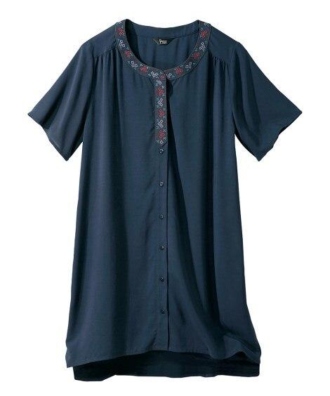 衿刺しゅう使いシャツチュニック (大きいサイズレディース)チ...