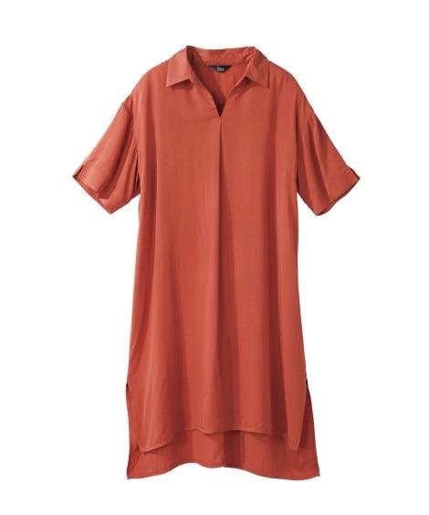 レーヨン100%ゆったりシャツチュニック (大きいサイズレデ...