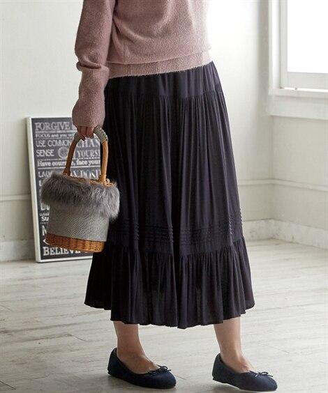 ピンタックギャザースカート (大きいサイズレディース)スカー...