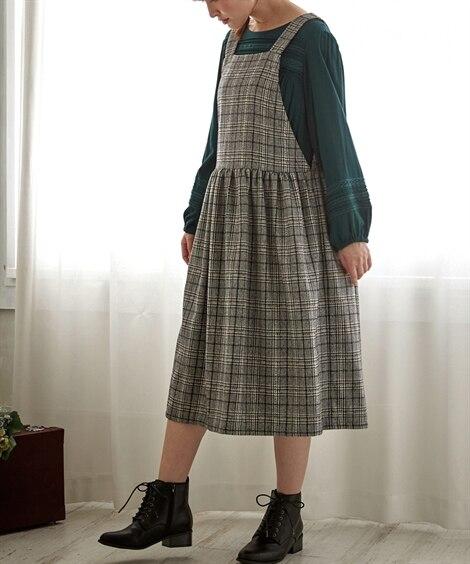 チェックジャンパースカート (大きいサイズレディース)ワンピ...