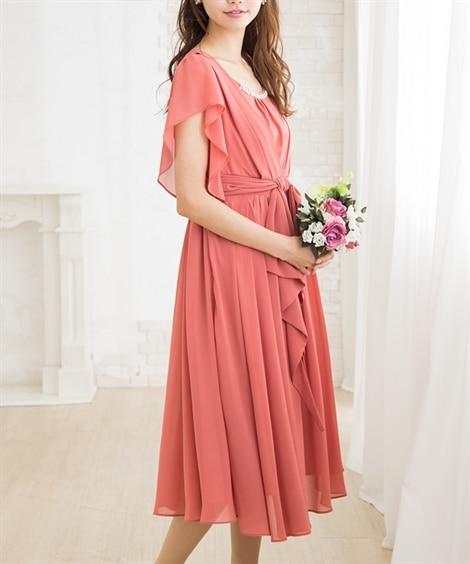 811cce921dadd ... タック&リボンが上品可愛いミモレ丈ワンピースドレス 結婚式・二次会・ ...
